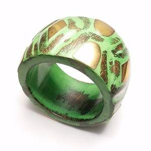 Large Green Gold Distressed Chunky Bangle Bracelet